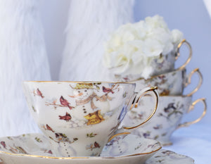 Single Snowman Teacup and Saucer