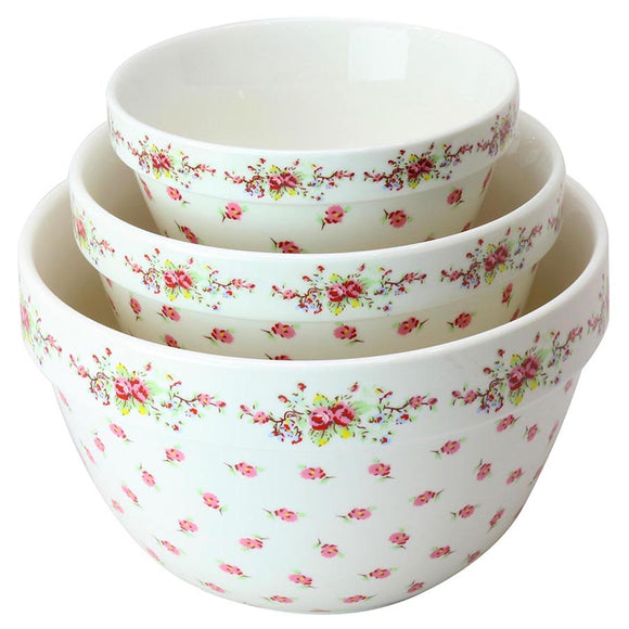 Vintage Rose 3 Pc Mixing Bowl Set