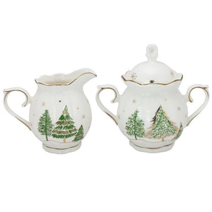 Winter Forest Porcelain Cream Pitcher and Sugar Bowl