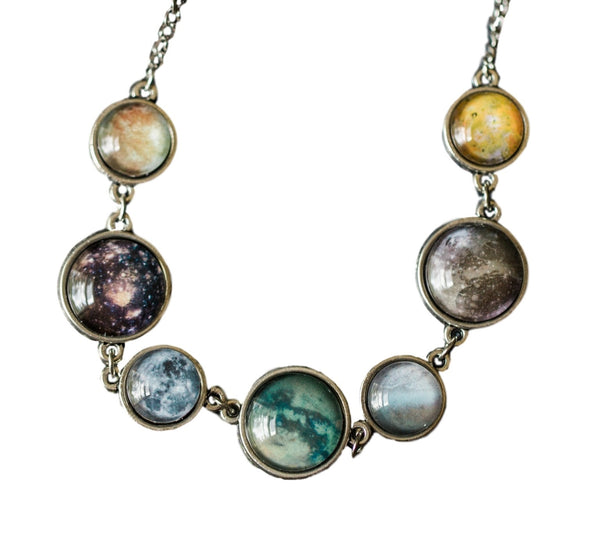 Double Sided Moons of the Solar System Necklace