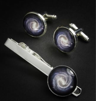 Milky Way Cufflinks and Tie Pin set
