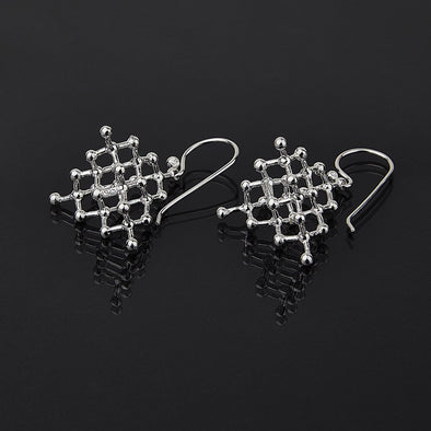 Sterling Silver Diamond Molecule Earrings