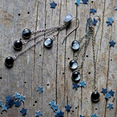 Sterling Silver Moon Phase Dangling Earrings