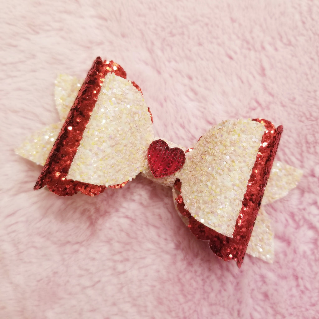 Light Pink and Red Glitter Heart Bow