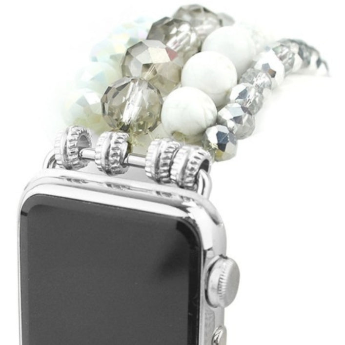 Howlite Bead and Crystal Apple Watch Band