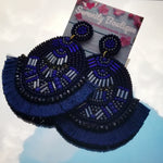 Beaded Artwork Tassel  Earrings