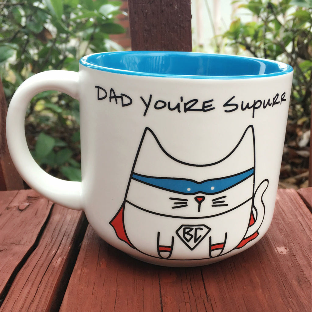 Dad You're Superr Cat Mug