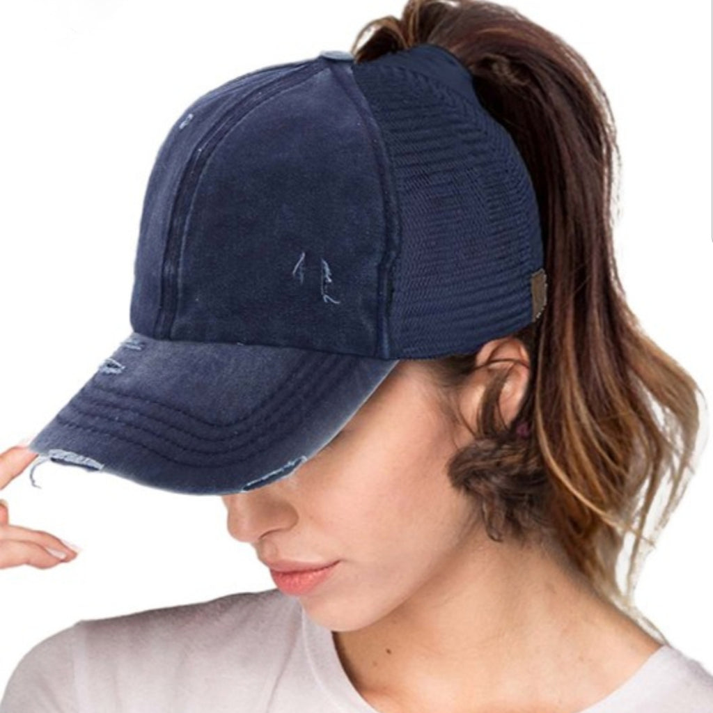 Distressed Messy Bun CC Cap