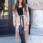Celeb Sequin Fringe Duster in Rose Gold