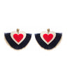 GOLD ACRYLIC HEART EARRINGS WITH BLUE TASSELS