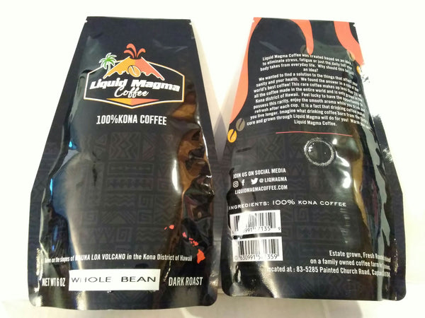 100% KONA COFFEE 6oz Whole Bean. Dark Roast