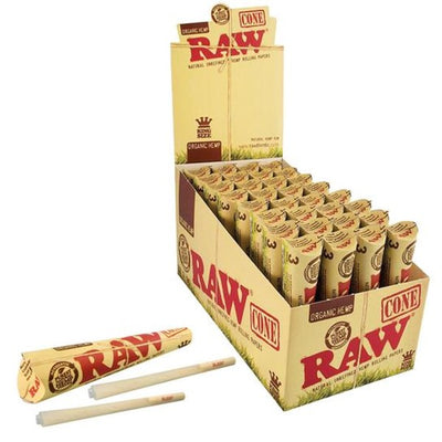RAW ORGANIC HEMP PRE-ROLLED CONE KING SIZE 32 PACKS PER BOX