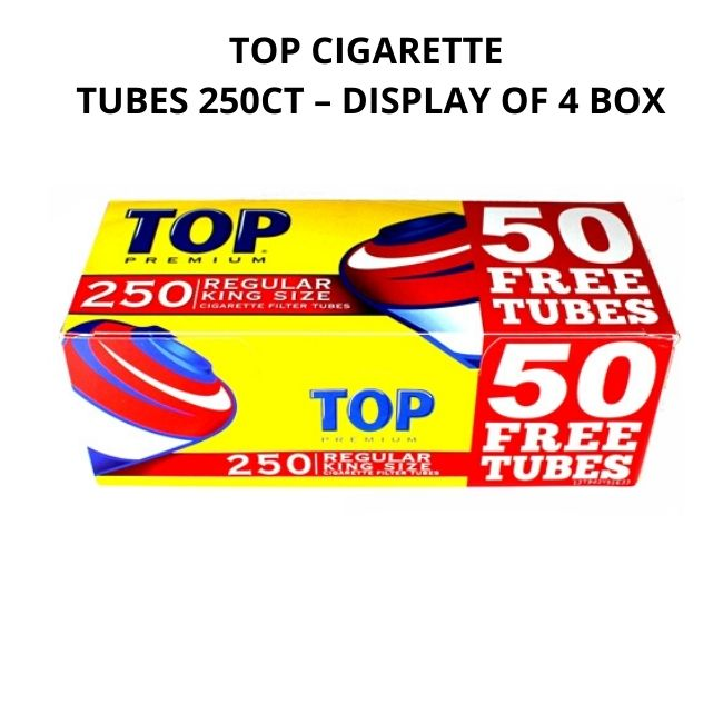 TOP CIGARETTE TUBES 250CT – DISPLAY OF 4 BOX
