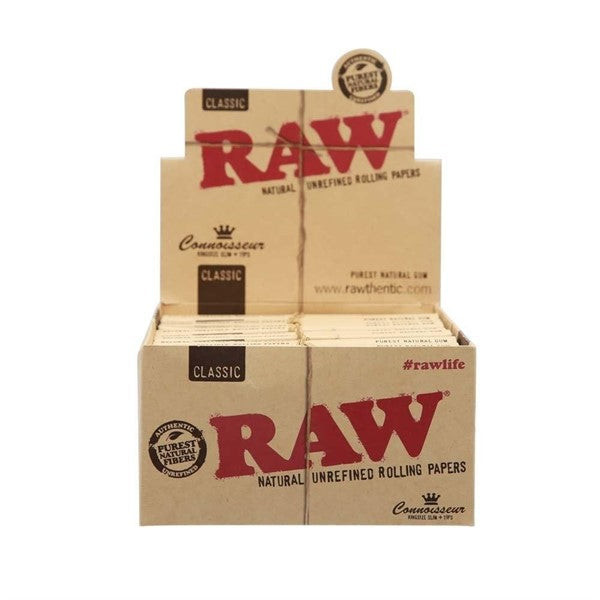 RAW CONNOISSEUR KING SIZE SLIM WITH TIPS 24PER BOX