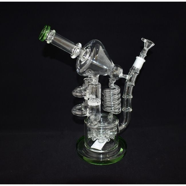 AMERICAN MADE GLASS CYCONE RECYCLER MULTI PERC SPRINKLE DESIGN WATERPIPE (WP034)