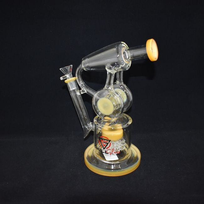 AMERICAN MADE CHILL GLASS HIGH BOROSILICATE DOUBLE CYCLONE PERC WATERPIPE (JLD79)