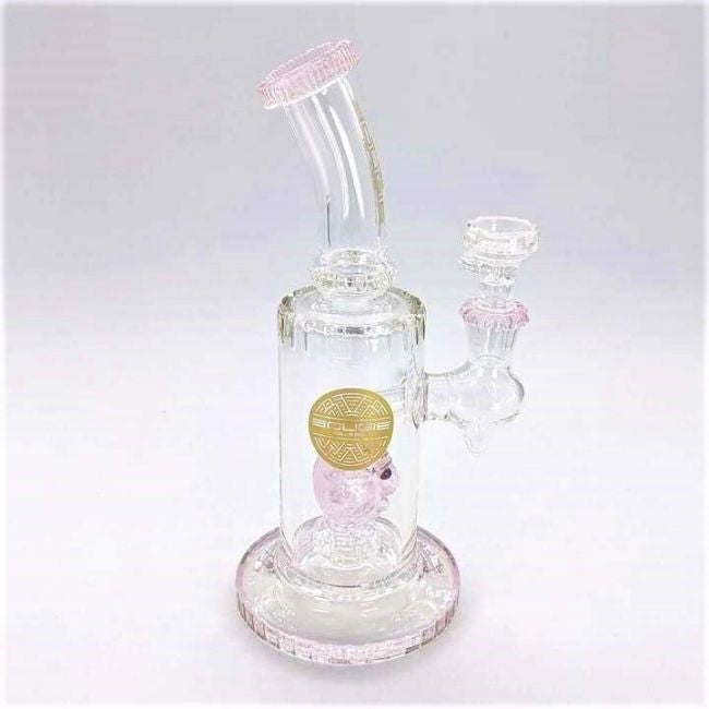 BOUGIE GLASS HEAD BEND BELL SHAPED PYRAMID SCHEME AND HEAVY 12? BEAKER WATERPIPE (WP405)