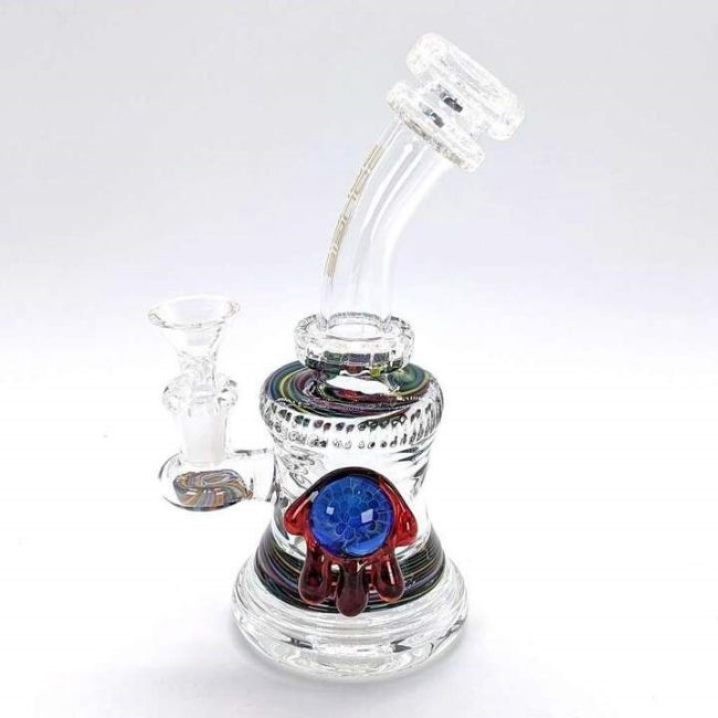 "BOUGIE GLASS 8""INCH BEND MATRIX PERC WITH DESIGN LOGO 14MM MALE BOWL ATTACHED (WP457)"