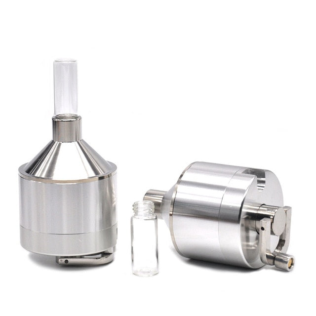 HAND MILL FUNNEL METAL POWDER GRINDER WITH SNUFF GLASS BOTTLE 4.4X10.7CM (GR065)