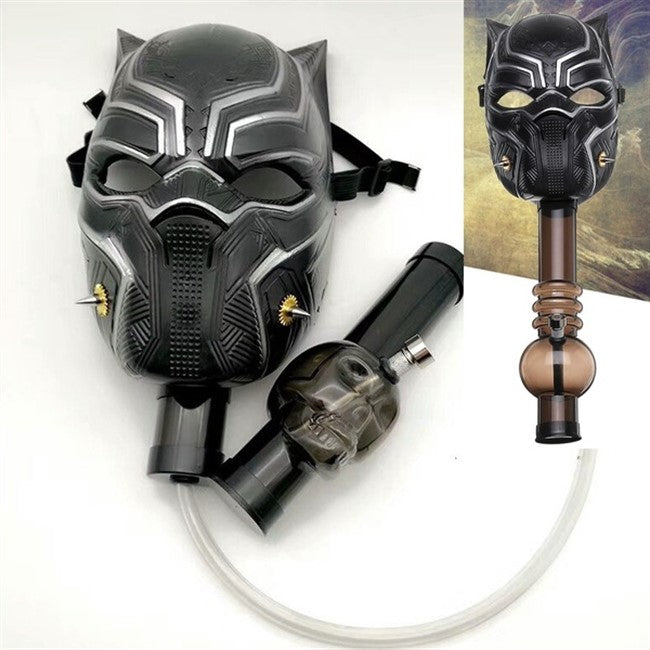 BLACK PANTHER ACRYLIC GAS MASK WITH SKULL/STRAIGHT WATERPIPE