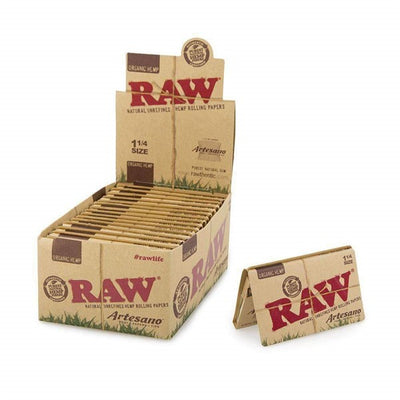 RAW ARTESANO 1 1/4 SIZE ROLLING PAPER TRAY PAPERS TIPS 15 PER BOX