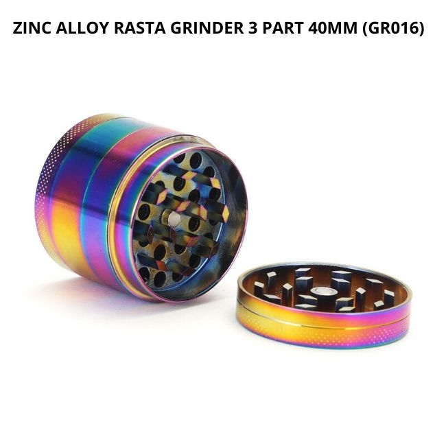 ZINC ALLOY RASTA GRINDER 3 PART 40MM (GR016)