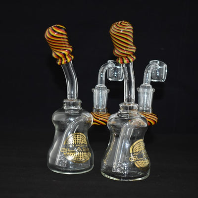 ON POINT GLASS 7 INCH BANGER HANGER WITH 4MM BANGER RED/YELLOW