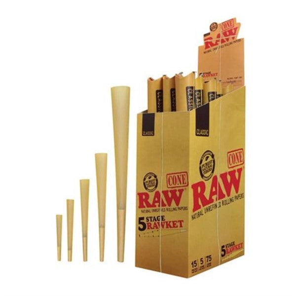 RAW CLASSIC PRE-ROLL CONE 5-IN-1 RAWKET 5 STAGE 15PACKS PER BOX
