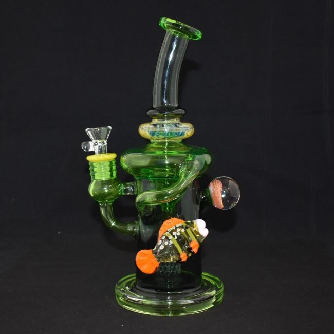 "AMERICAN MADE TATTOO GLASS 10"" LARGE  BOTTLED GREEN LOVE FISH SHOWER PERC WATERPIPE (WP361)"