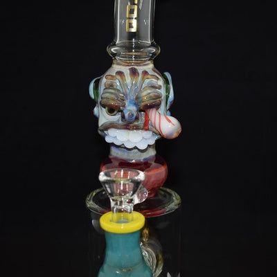 "AMERICAN MADE TATTOO GLASS 8"" LARGE  BOTTLED GOLDEN DOREMON ONE EYE DESIGN  SHOWER PERC WATERPIPE(WP363)"