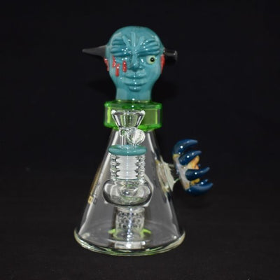 "AMERICAN MADE TATTOO GLASS 8"" LARGE  BOTTLED CARTOON ONE EYE DESIGN  SHOWER PERC WATERPIPE (WP362)"