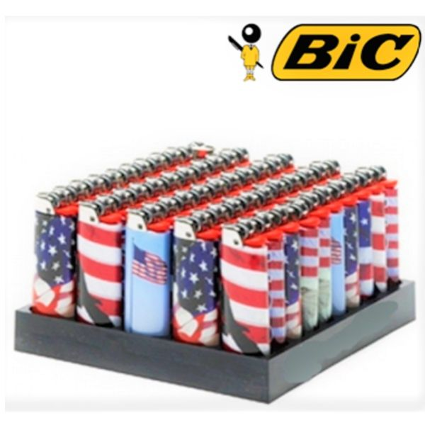 BIC LIGHTER 50 COUNT DISPALY  - AMERICAN FLAG DESIGN