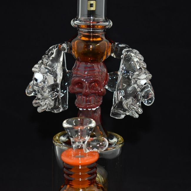 "AMERICAN MADE TATTOO GLASS 10"" INCH LARGE  3 SKULL HEAD SHOWER PERC WATER RIG WITH 14MM MALE BOWL (WP359)"
