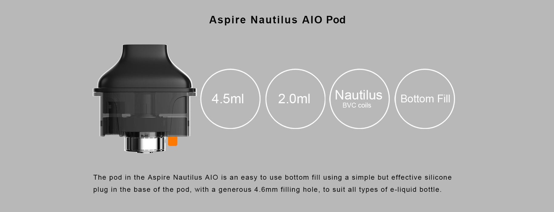 POD System - ASPIRE NAUTILUS AIO 4.5ML REFILLABLE REPLACEMENT POD