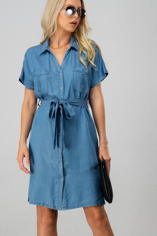 Candace Belted Denim Shirt Dress
