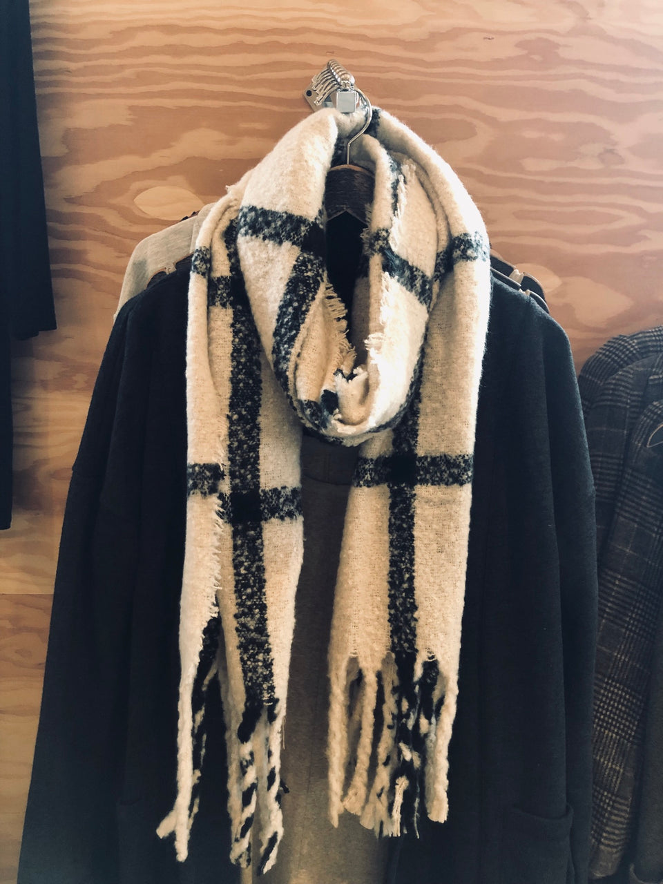 Cream and Black Winter Scarf