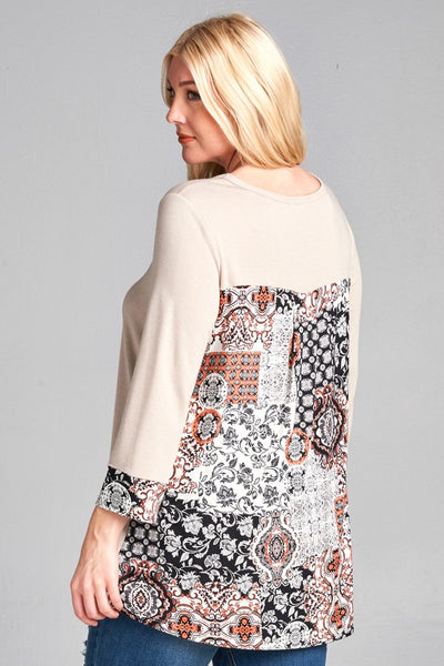 PLUS Round Neck, Solid French Terry Top w/Floral Patchwork