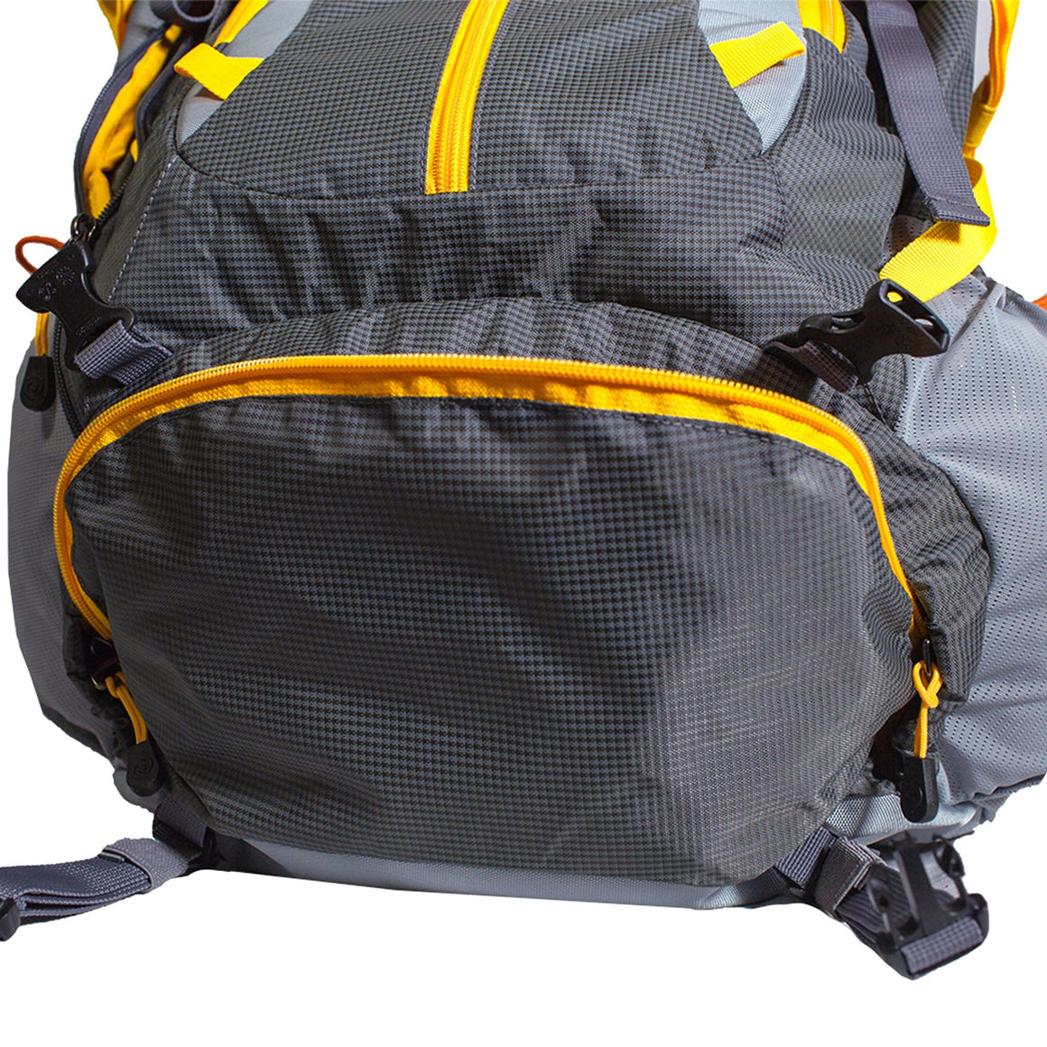 Front of the 45L Hiking Backpack in Yellow and Grey