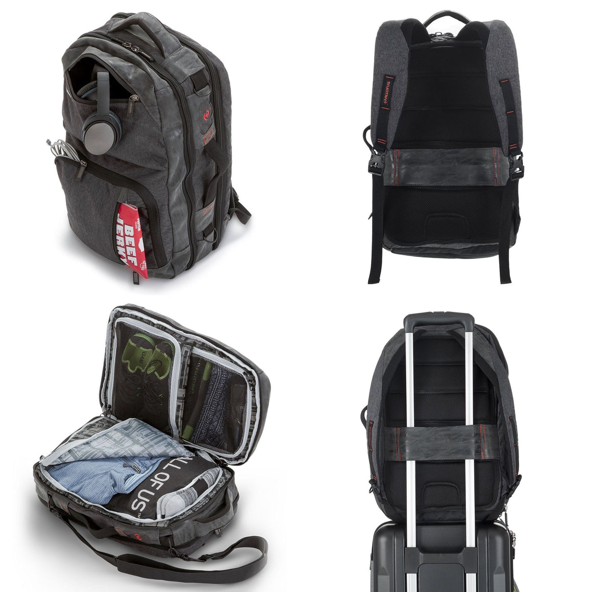 Front of the All of Us Drifter Backpack in Grey and Dark Green