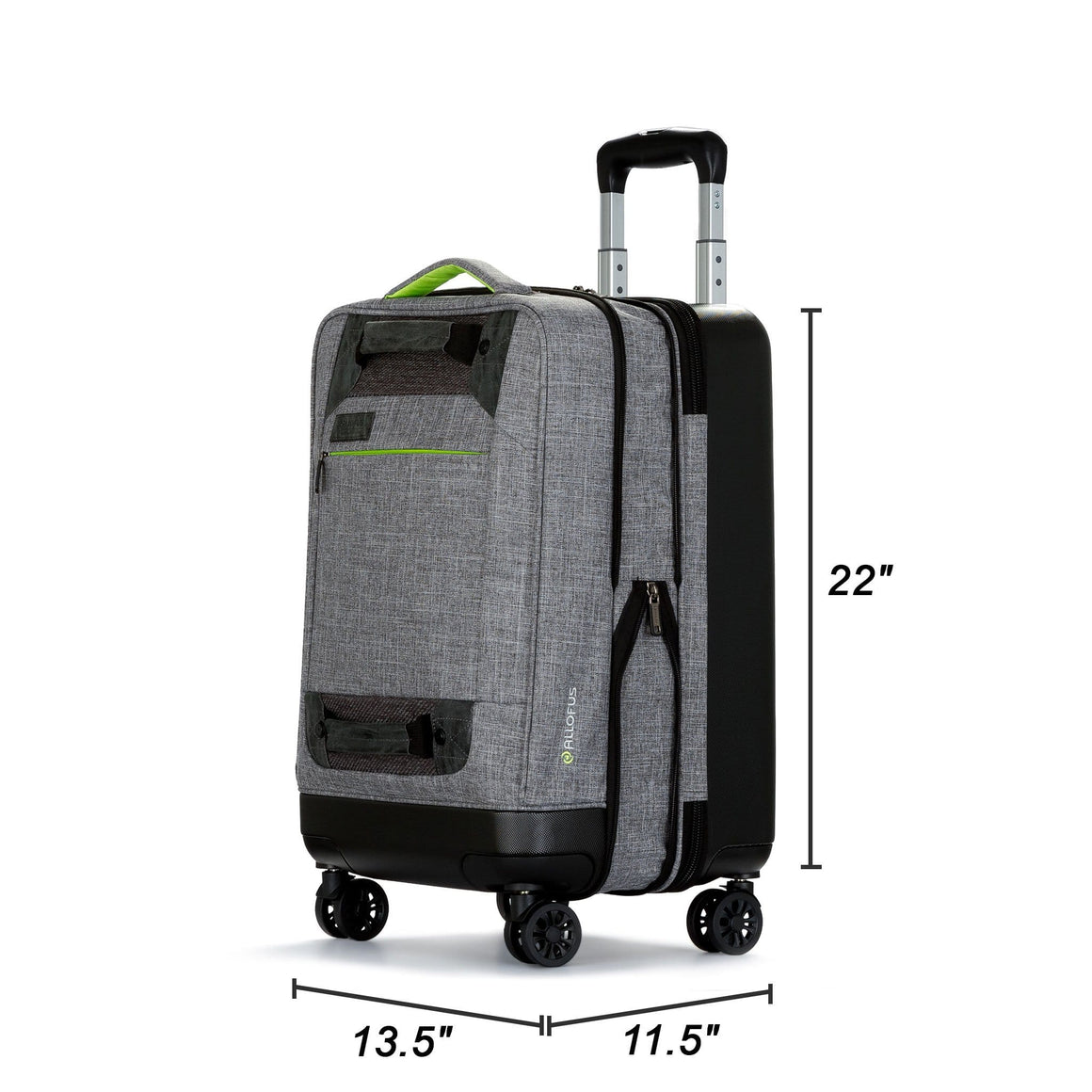 Front of Stylish Hybrid Rolling Carry On Spinner Suitcase with gray and green highlighting