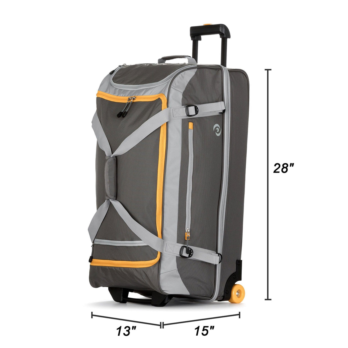 "Front of Rolling Travel Duffel Bag - 28"" in Yellow and Gray"