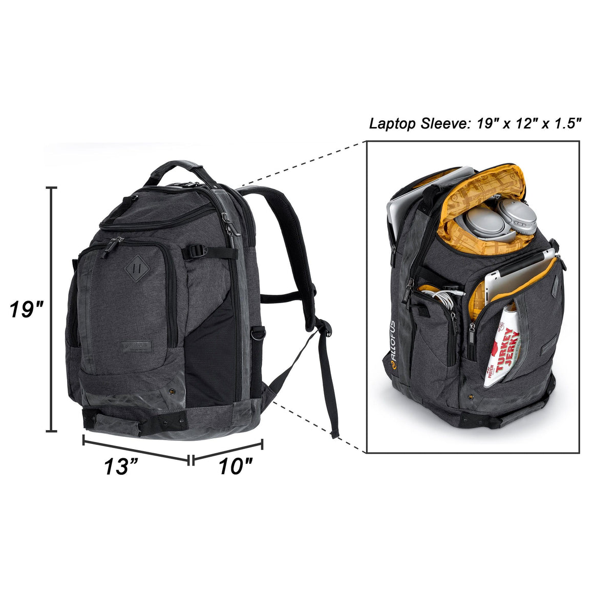 Front of the All of Us Legacy Laptop Backpack Bag in Gray and Black