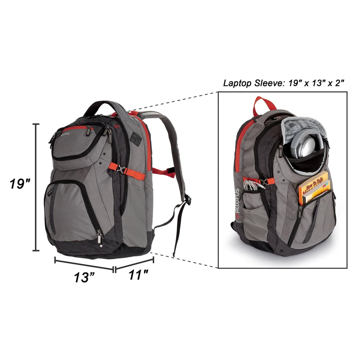 Front of Revival Laptop Backpack by All of Us in Grey and Orange
