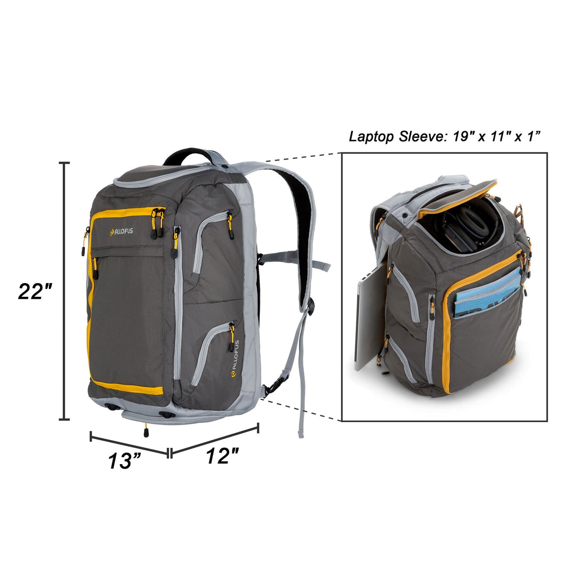 Front of Sherpa Sport Convertible Backpack Duffle in Yellow and Gray