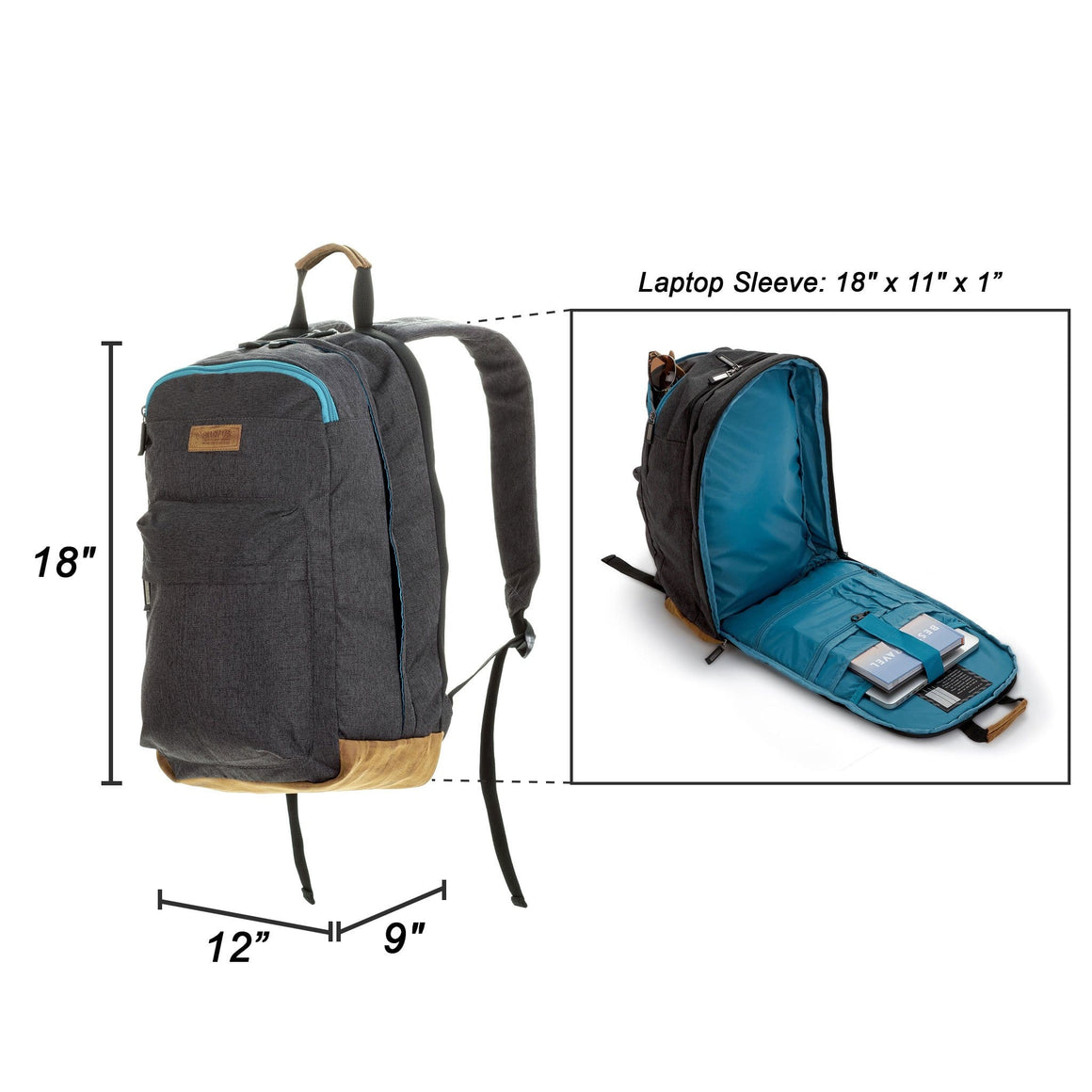 Front of All of Us Supernova Lightweight Unisex Laptop Backpack for School in Grey and Turquoise