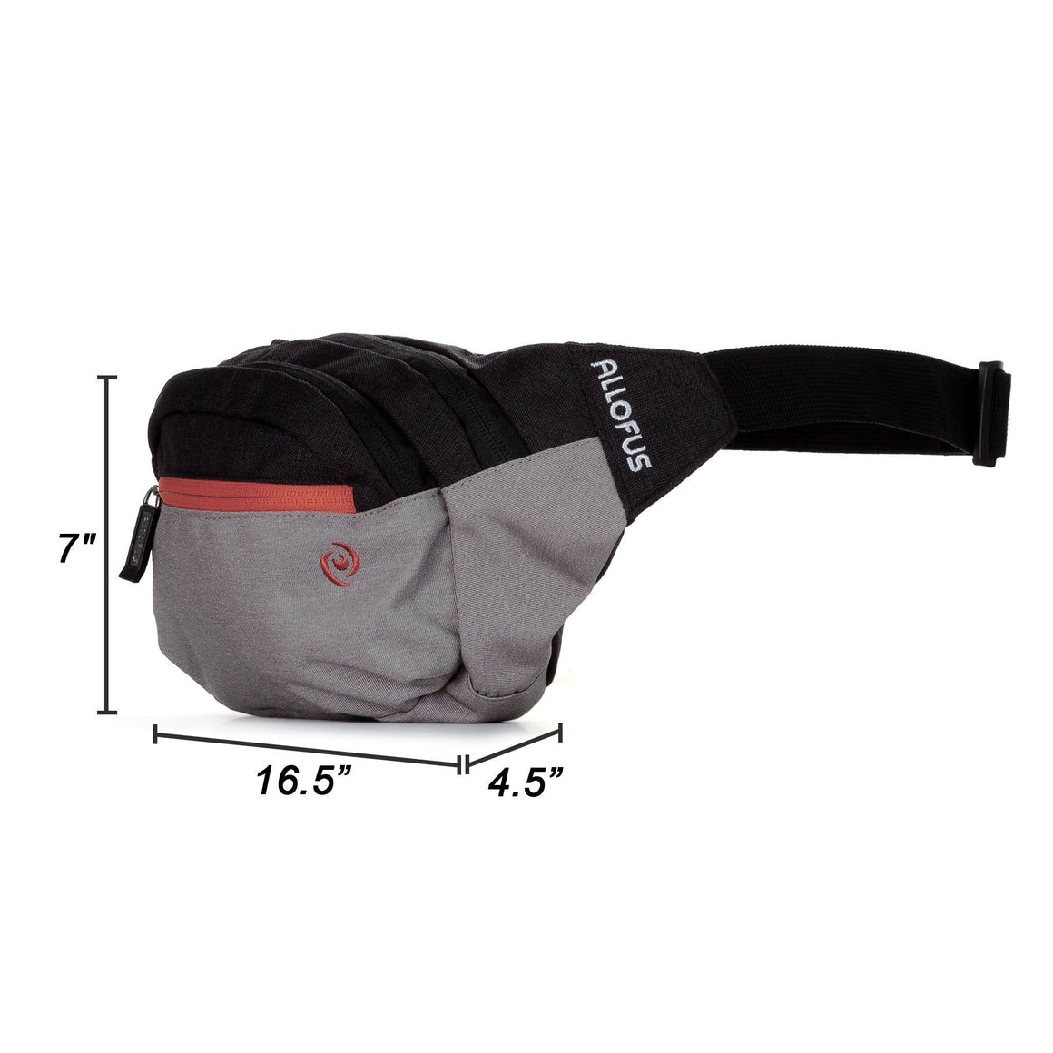 Front of Wolf Pack Waist Pack / Sling Bag in Heather Gray