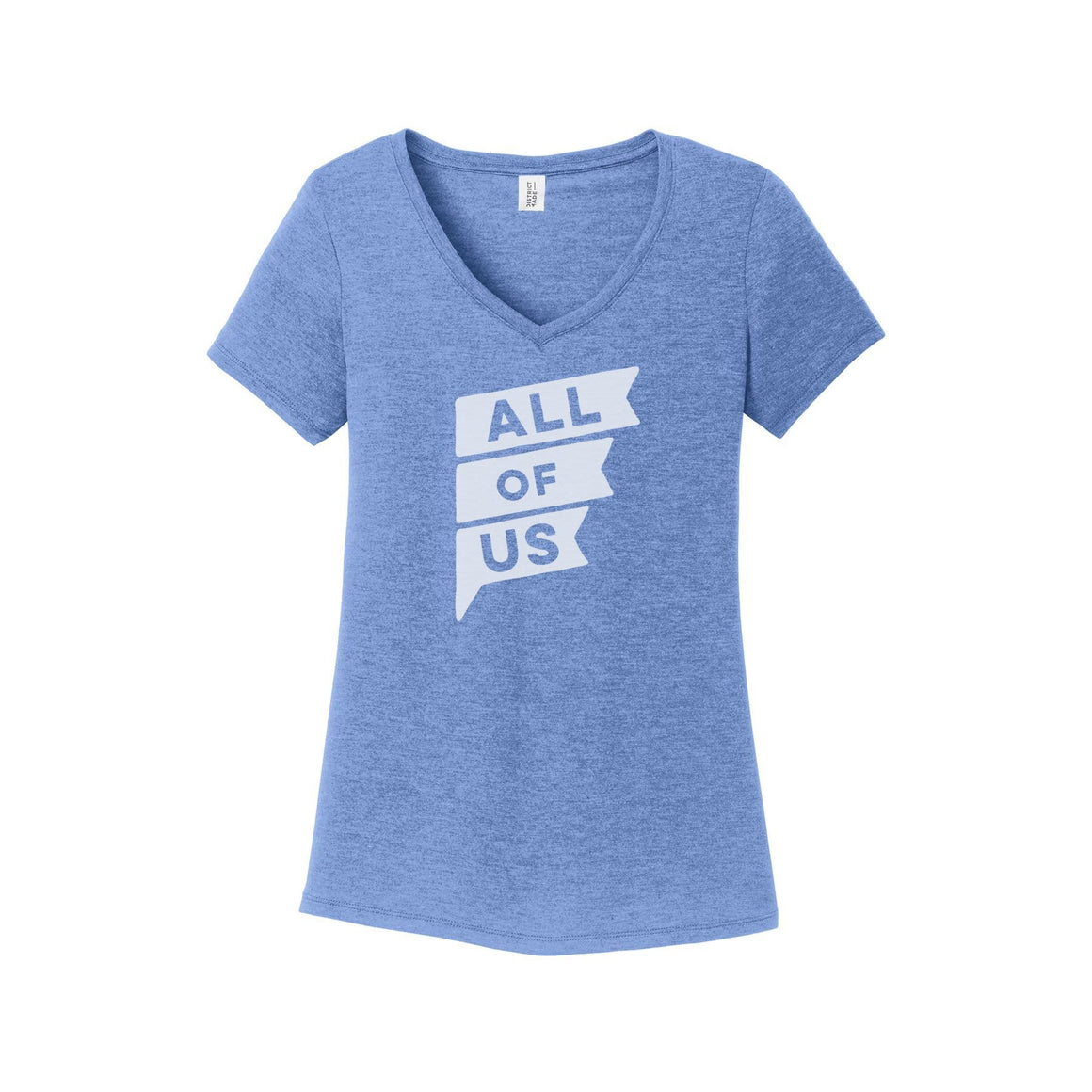 Womens All of Us Maritime Frost Tri-Blend V-Neck T-shirt