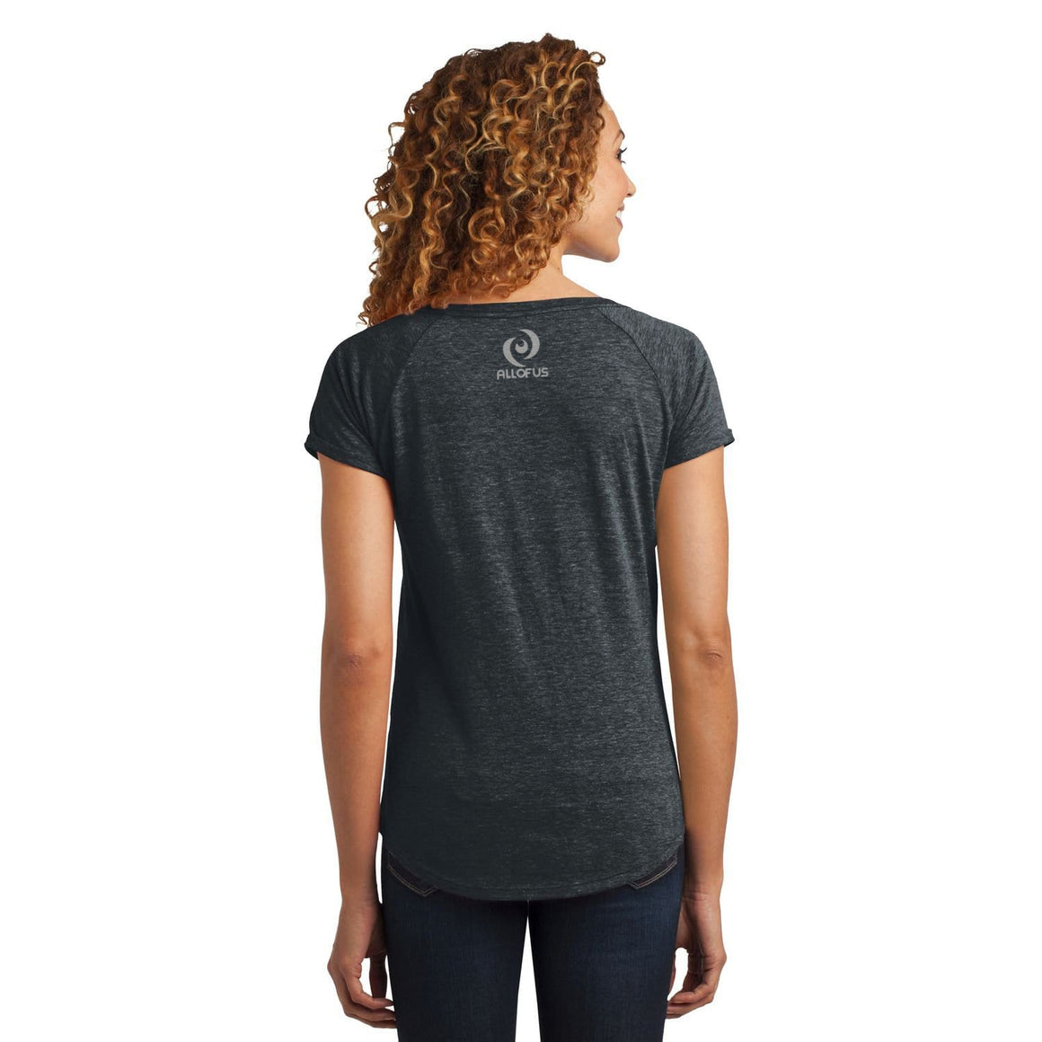 Womens All of Us Charcoal Heather Tri-Blend Scoop Tee T-shirt