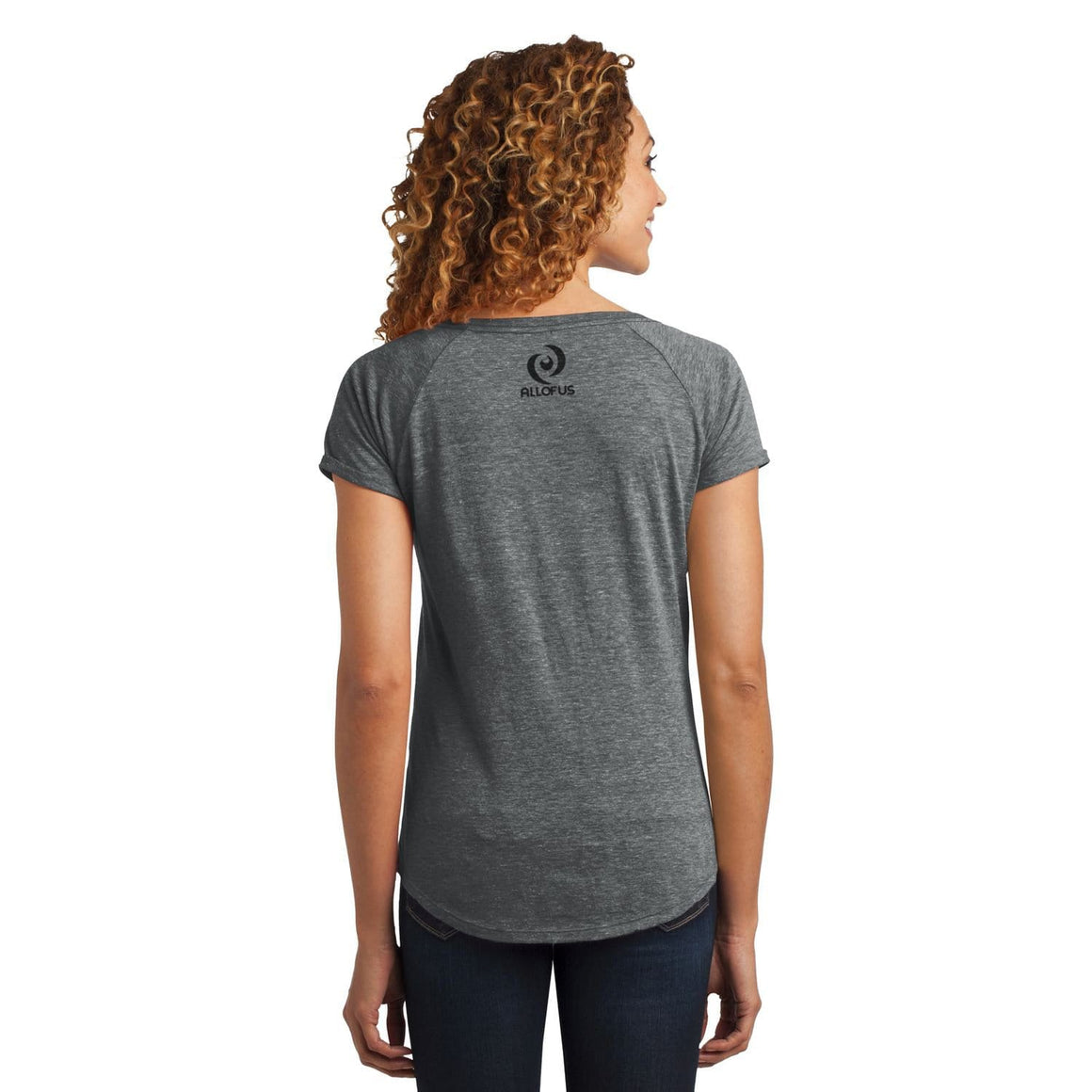 Womens All of Us Grey Heather Tri-Blend Scoop Tee T-shirt