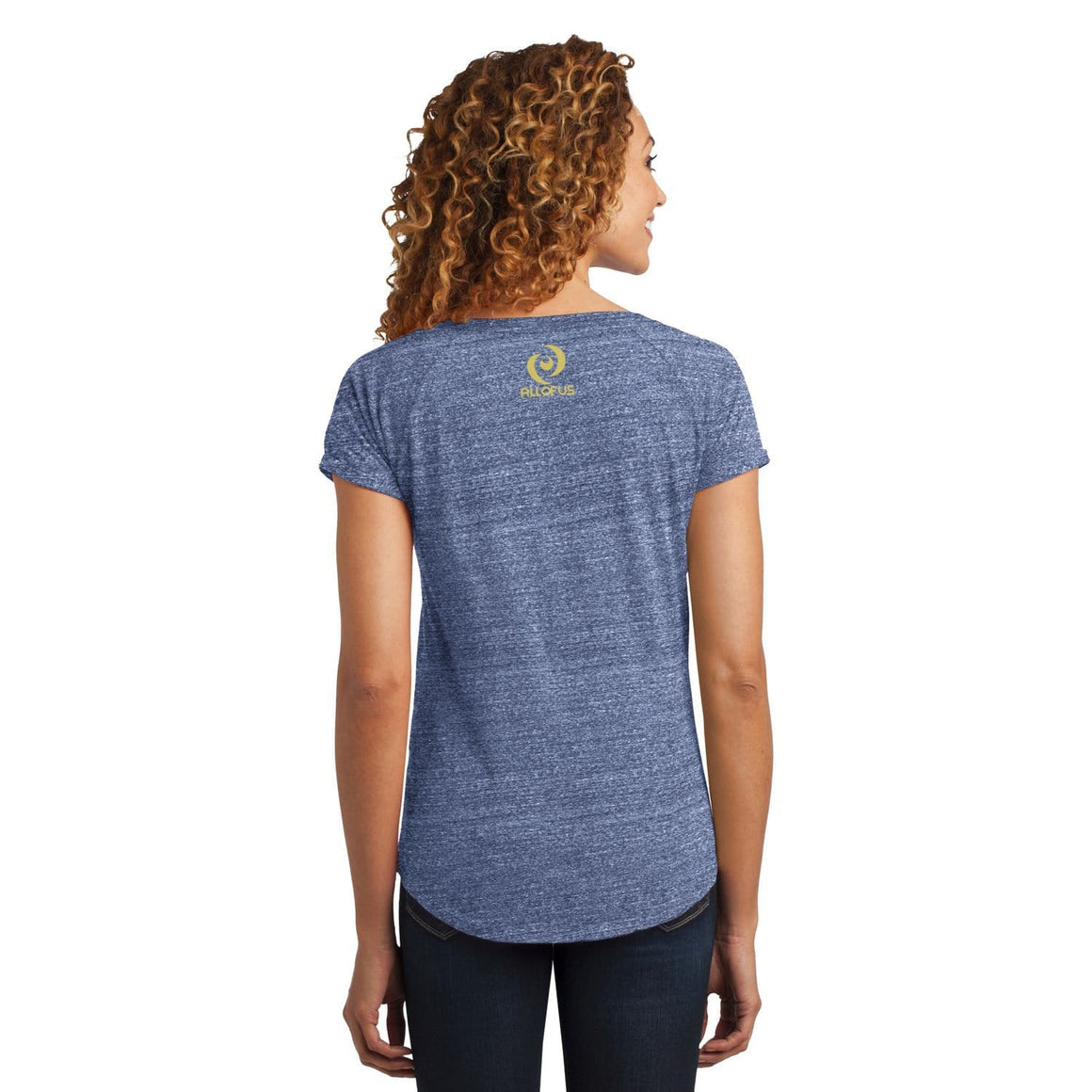 Womens Human.Kind. Navy Heather Tri-Blend Scoop Tee T-shirt